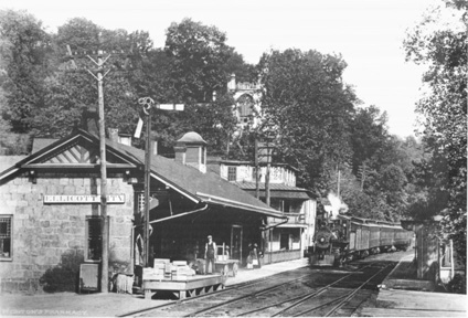 On May 24, 1830 the first railroad -- drawn by horses -- in the United States arrived in Ellicott City from Baltimore, thirteen miles away. The Baltimore & Ohio station in Ellicott City, pictured here c. 1905, was in continuous use for many years until it was converted into a museum.