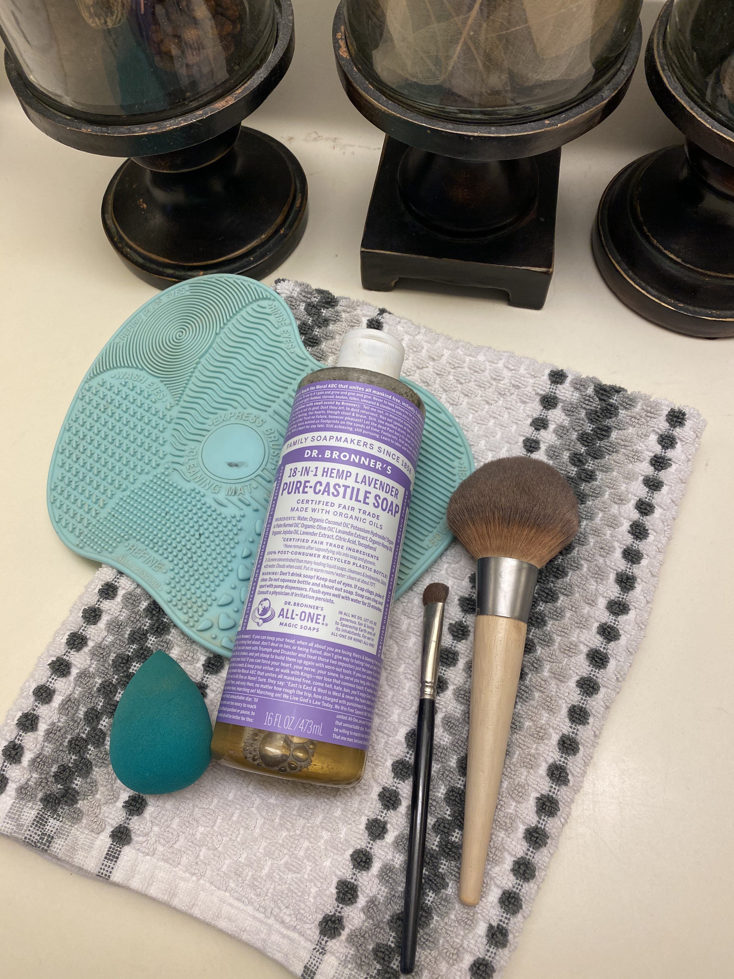 Dr. Bronner's Castille Soap, Makeup Brushes, Makeup Sponge, Cleansing Mat