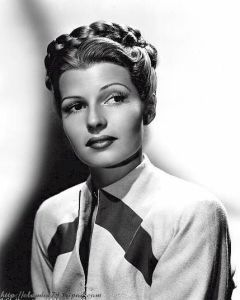 Rita Hayworth with braided hair